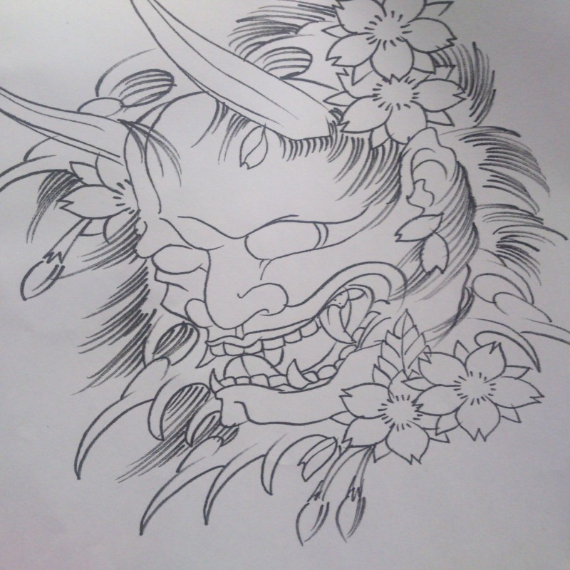 Colorless devil in cherry blossom waves tattoo design