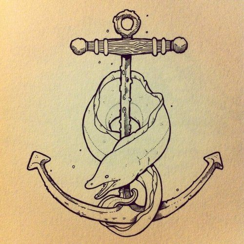 Colorless eel water animal entwined the anchor tattoo design