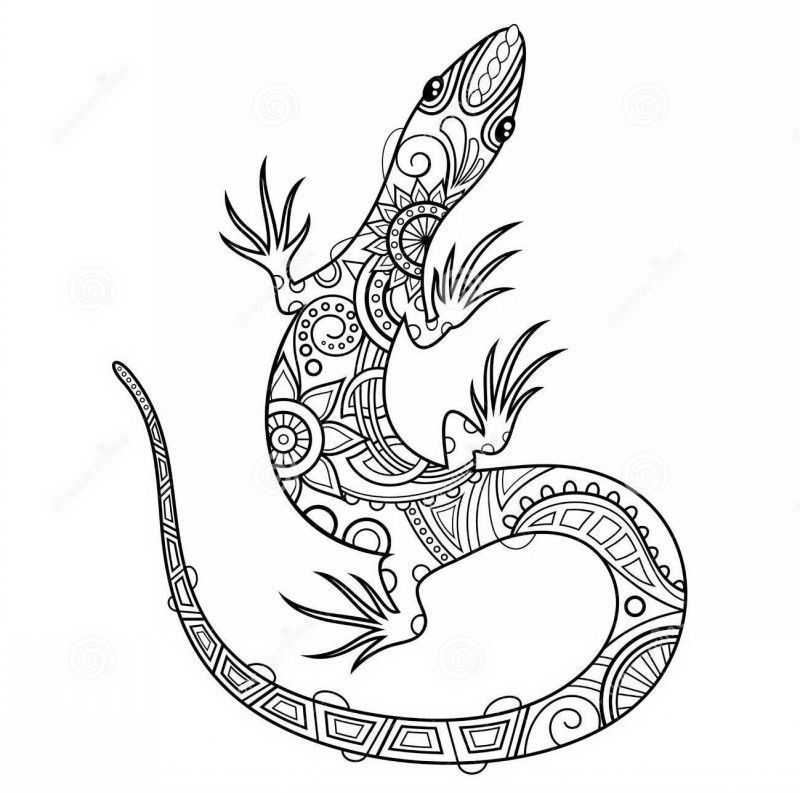 Colorless floral-printed reptile tattoo design