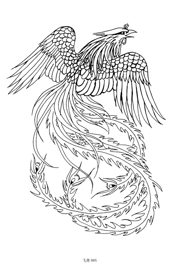Colorless flying phoenix tattoo design