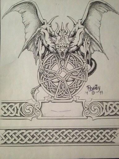 Colorless gargoyle and beautiful celtic symbol tattoo design