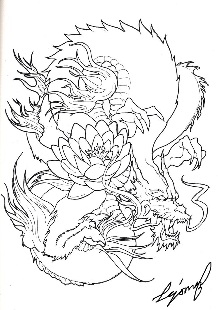 Colorless japanese dragon with lotus flower tattoo design colorless japanese dragon with lotus flower tattoo design tattooimagesz mightylinksfo Gallery