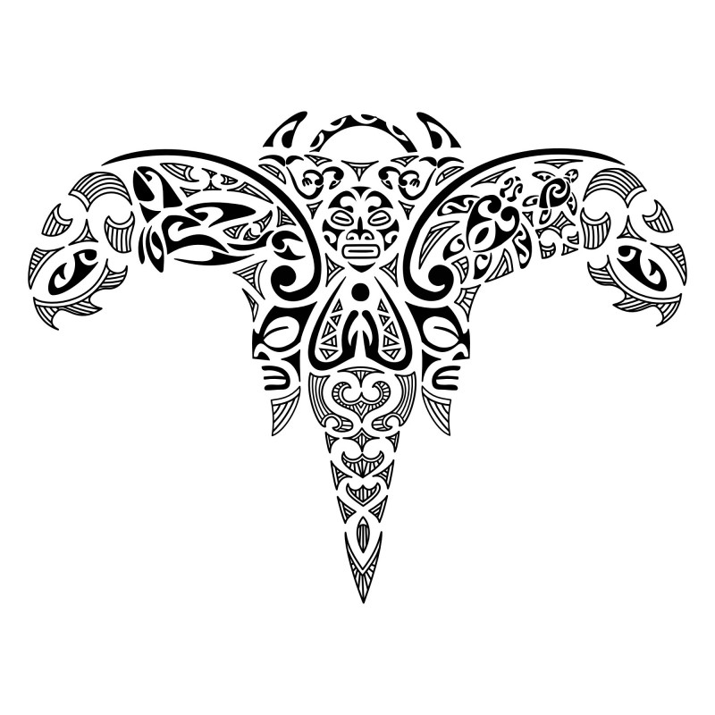 Colorless maori-style water animal tattoo design