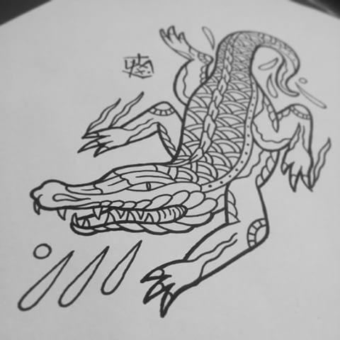 Colorless old school reptile and water dwops tattoo design