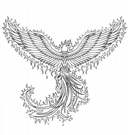 Colorless phoenix covered with flame tattoo design