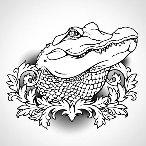 Colorless reptile potrait with leaved frame tattoo design