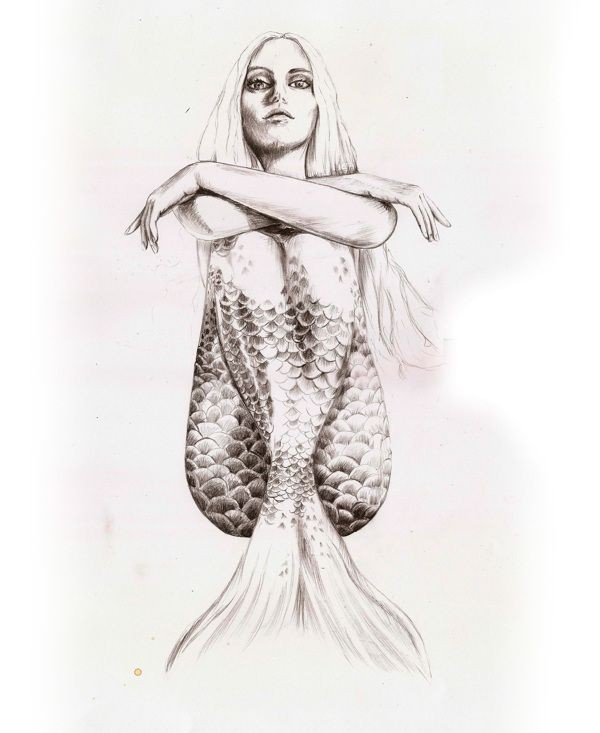 Colorless static sitting mermaid with crossed arms tattoo design