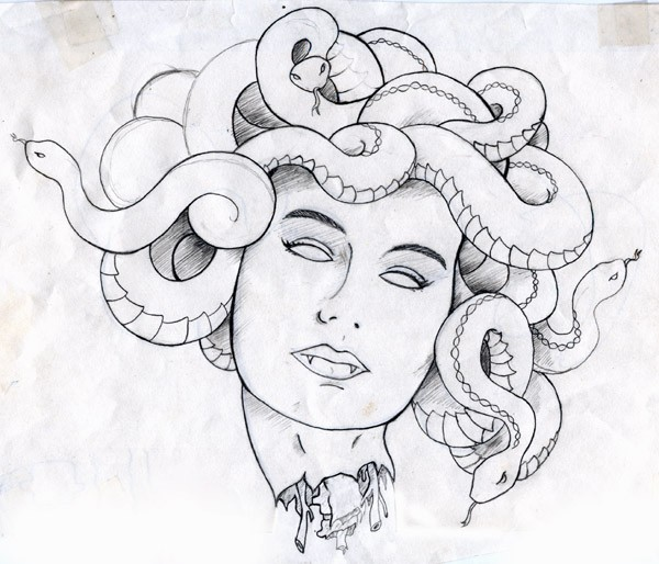 Рисунок горгоны медузы в карандаше