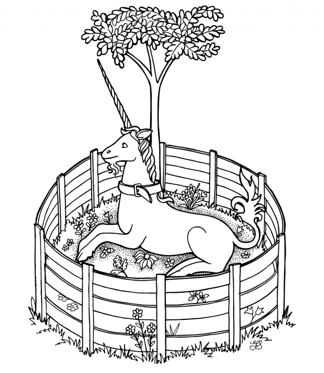 Colorless unicorn lying under the tree rounded with a fence tattoo design