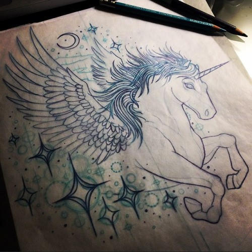 Colorless unicorn with pegasus wings flying among shining stars tattoo design