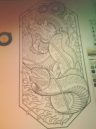 Colorless water animal monster swimming in stormy waves tattoo design