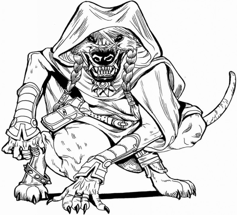 Colorless werewolf warrior covered with a mantel tattoo design by Pressure Comics