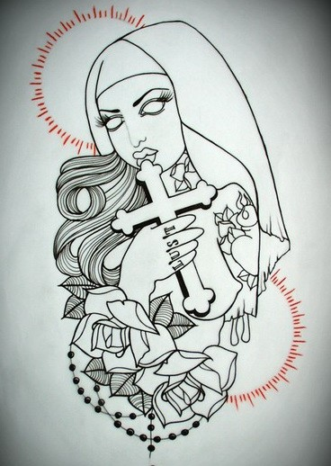 Colorless zombie nun with a cross and roses on red shining bakground tattoo design