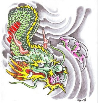 Coloured japanese dragon in grey waves tattoo design by Viking Tattoo