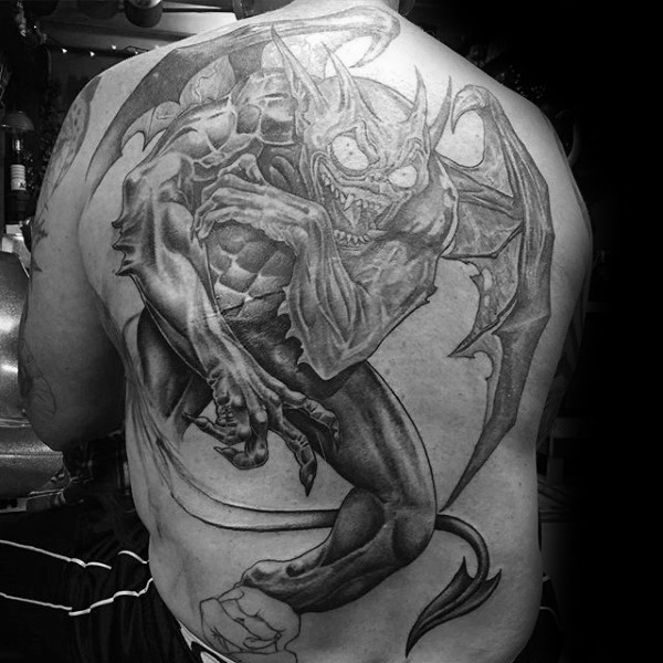 Comic books style black ink whole back tattoo of awesome gargoyle