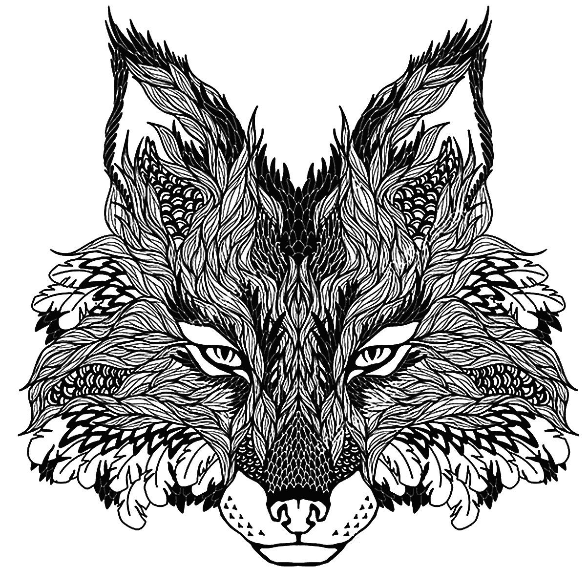 Concentrated wolf muzzle with pattern tattoo design