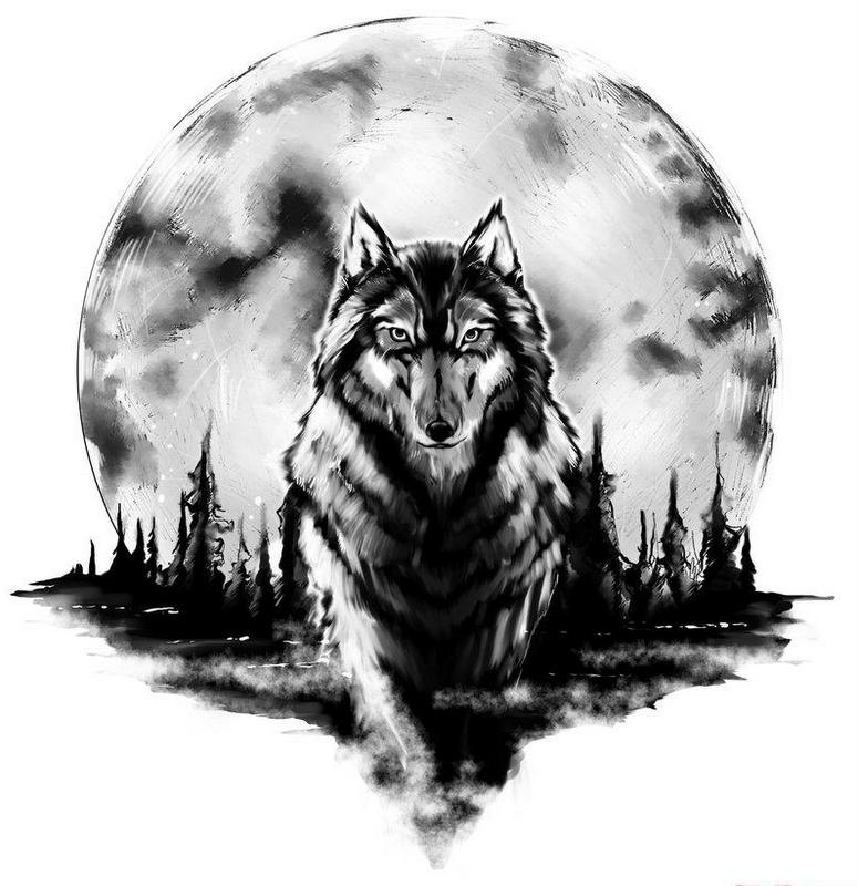 Confident black-and-white wolf walking forward on full moon background tattoo design