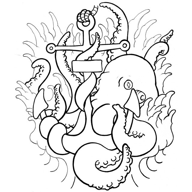 Confused black-line octopus embracing an anchor in water tattoo design