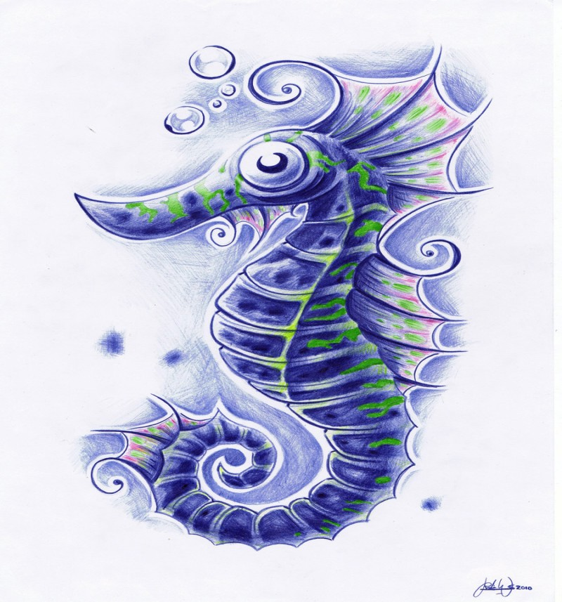 Confused blue seahorse with green stripes tattoo design