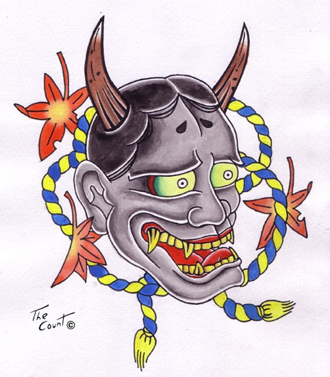 Confused colored japanese devil with yellow-and-blue ropes and maple leaves tattoo design