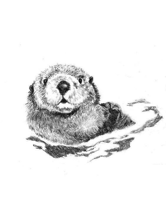 Confused grey-ink rodent swimming in water tattoo design