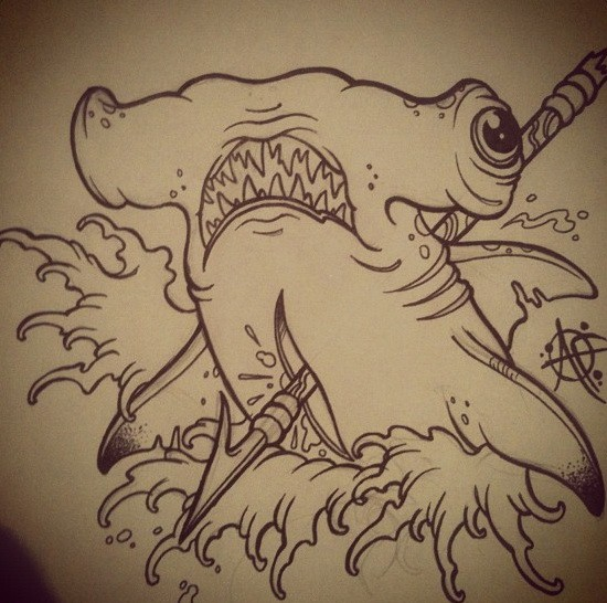 Confused hummer shark killed with arrow tattoo design