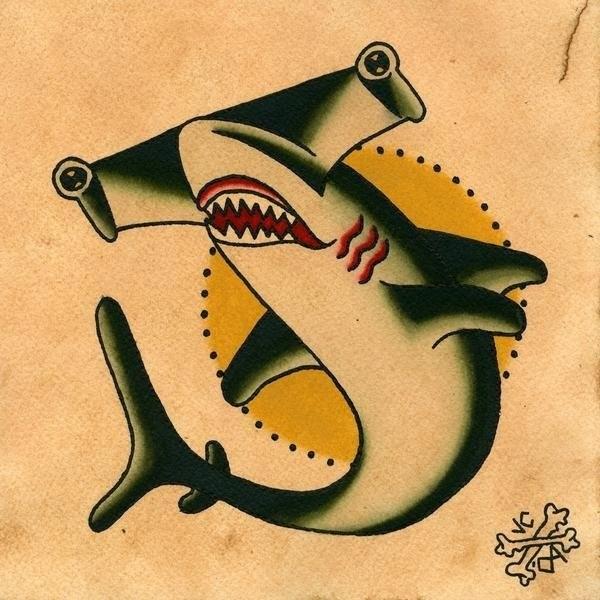 Confused old school hummer shark tattoo design