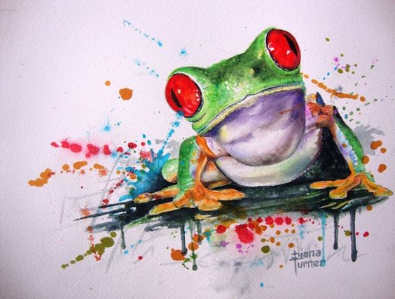 Confused red-eyed frog in watercolor splashes tattoo design
