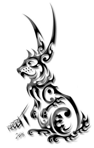 Cool 3d grey-ink tribal hare tattoo design