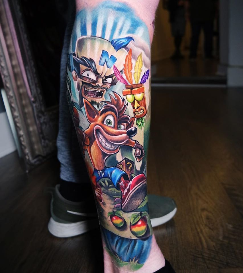Cool CRASH cartoon tattoo