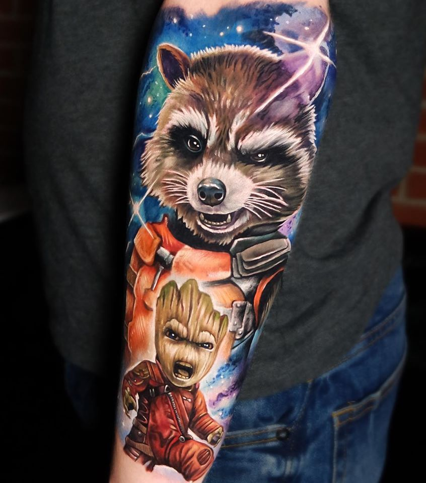 Cool Rocket and Baby Groot tattoo from Marvels movie