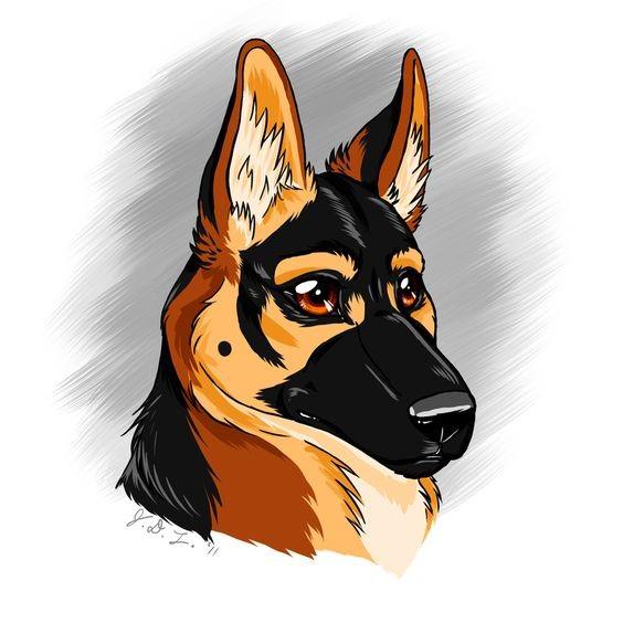 Cool animated colorful german shepherd portrait tattoo design