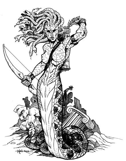 Cool antique medusa gorgona warrior tattoo design by Everwho