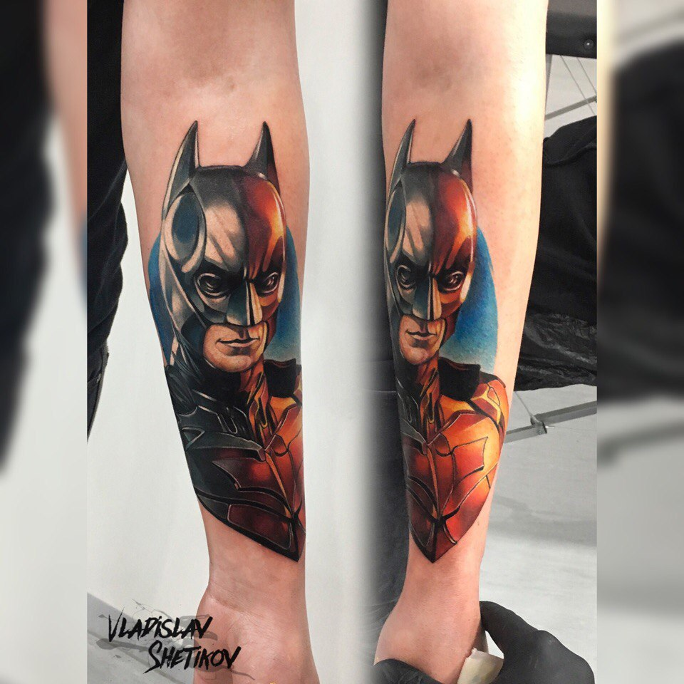 Cool batman tattoo on forearm