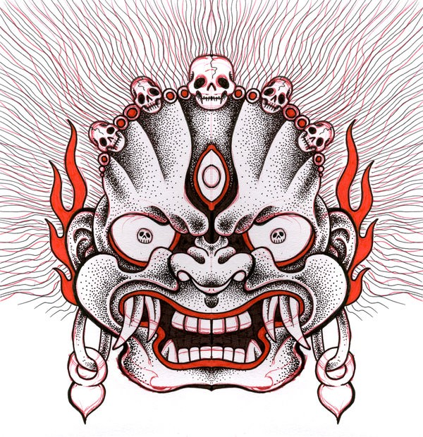 Cool black-and-red dotwork demon face tattoo design by Jon Too Good