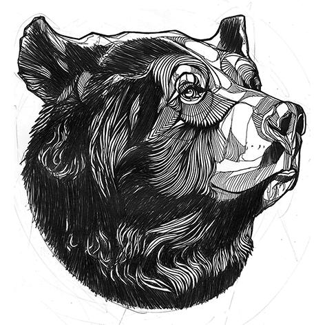 Cool black-and-white 3D bear head tattoo design