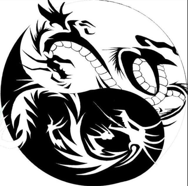 cool black and white dragon yin yang tattoo design. Black Bedroom Furniture Sets. Home Design Ideas