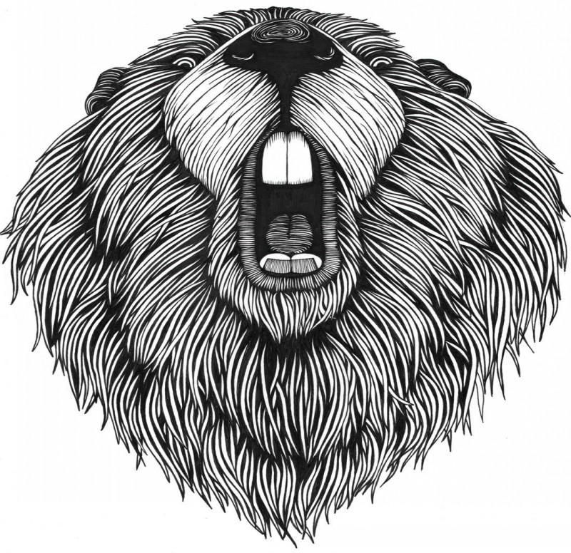 Cool black-and-white flyffy rodent with open mouth tattoo design