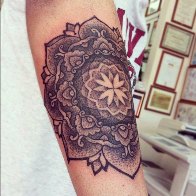 cool black and white mandala flower tattoo on arm. Black Bedroom Furniture Sets. Home Design Ideas