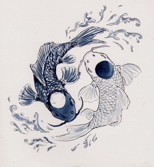 Cool Black And White Yin Yang Koi Fish With Water Splashes Tattoo