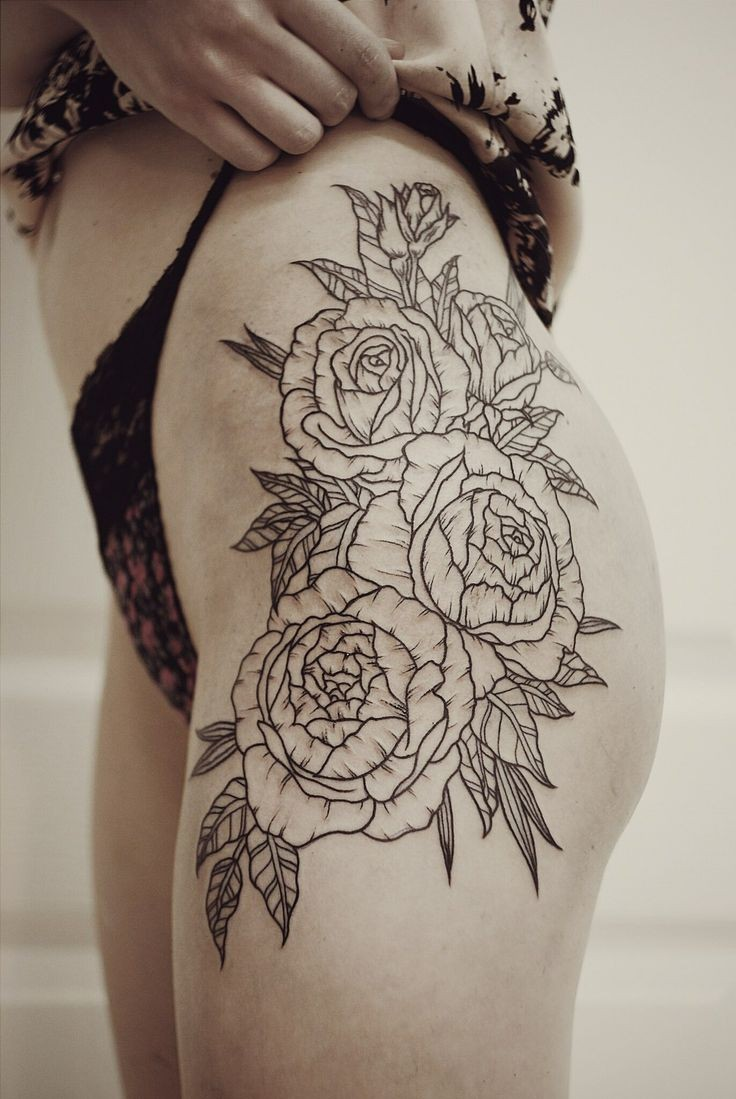 Cool black-contour rose flowers tattoo on thigh