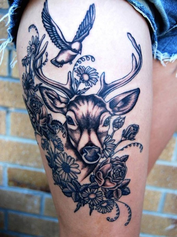 Cool black-ink flowers with deer and bird tattoo on thigh