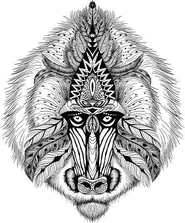 Cool black-ink indian baboon head tattoo design
