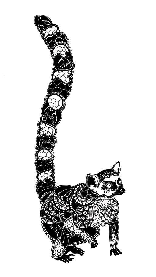 Cool black-ink printed lemur tattoo design