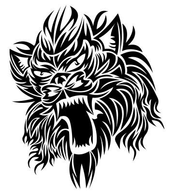 Cool black-ink trial screaming werewolf head tattoo design