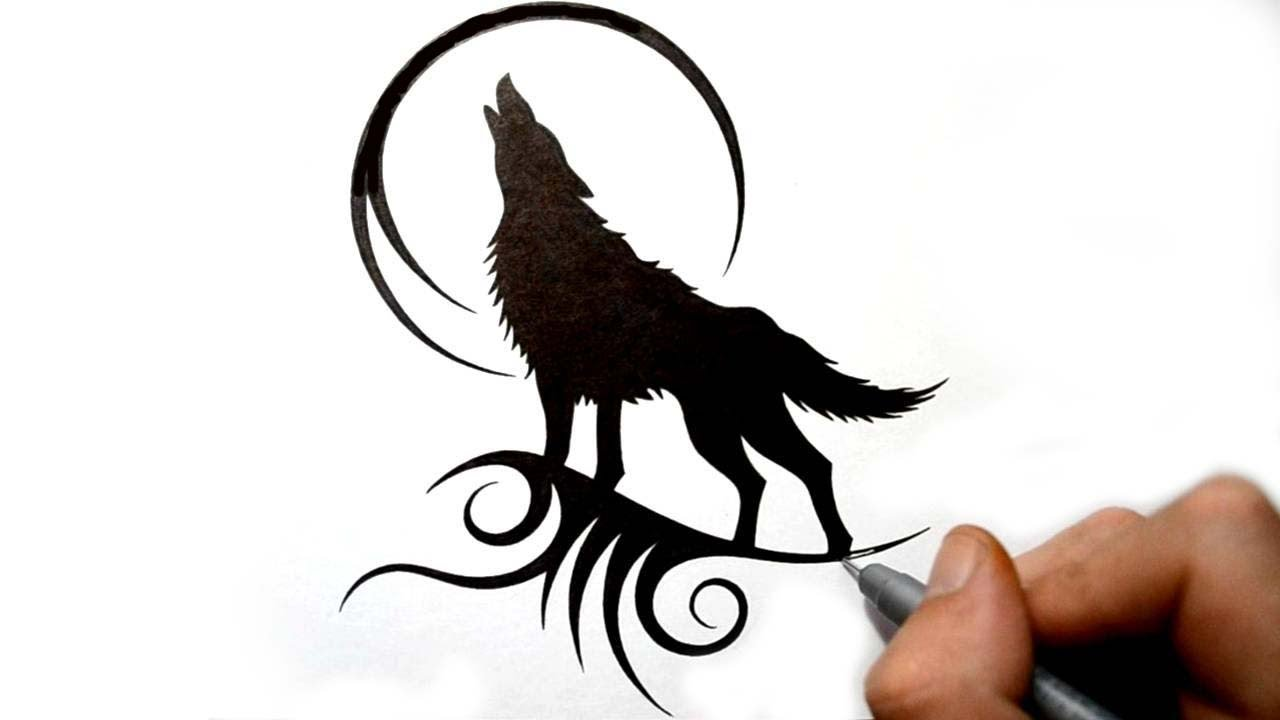 Cool black howling wolf and moon contour design