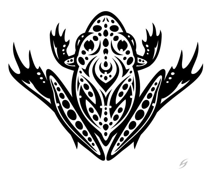 Cool black spotted frog tattoo design
