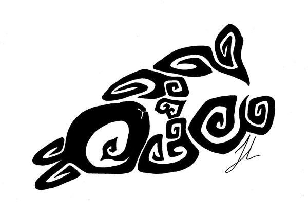 Cool black tribal lying rabbit tattoo design by Rienquish