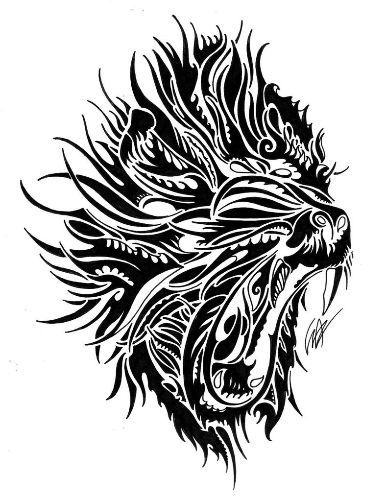 Cool black tribal screaming baboon tattoo design by Franbattagion