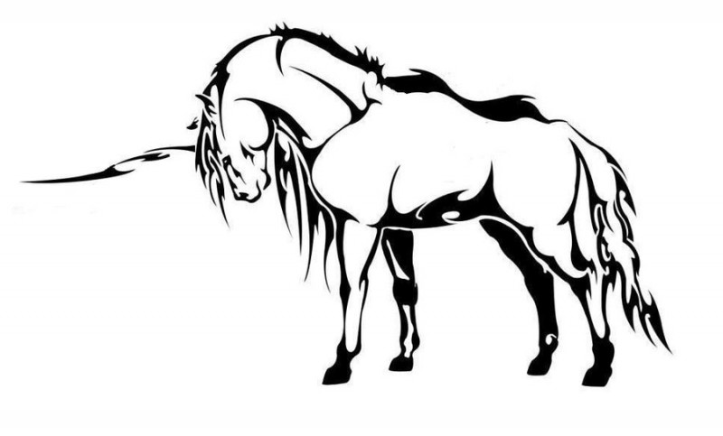 Cool black tribal unicorn tattoo design